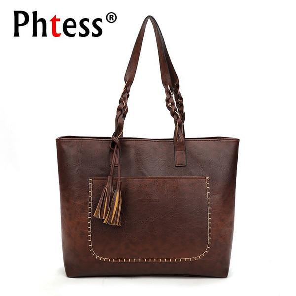 2019 Dropshipping Vintage Handbags Women Retro Large Capacity Tote Bag Female Sac A Main Female Leather Handbags High Quality