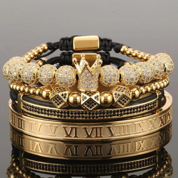 top popular 4pcs set Gold Hip Hop Hand Made Bead Bracelet Men Copper Pave CZ Zircon Crown Roman Numeral Bracelets & Bangles Jewelry 2021