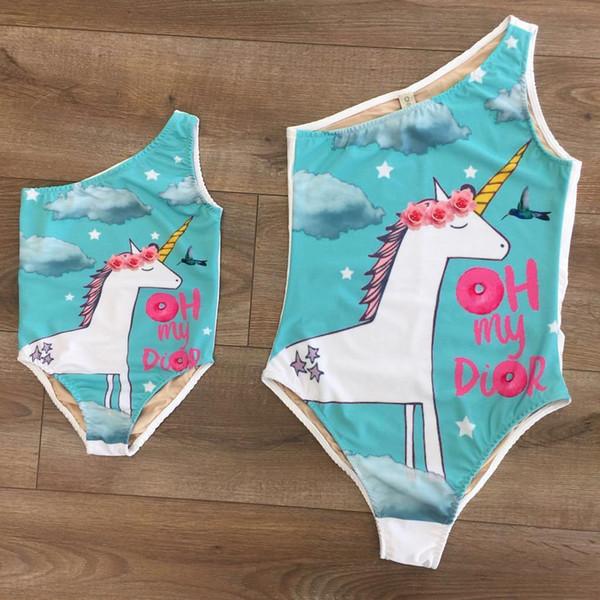 Cute Mother Baby Kids Girl Bikini Suit Halter Unicorn Swimsuit Swimwear Bathing Suit Baby Clothes Set 1-8T