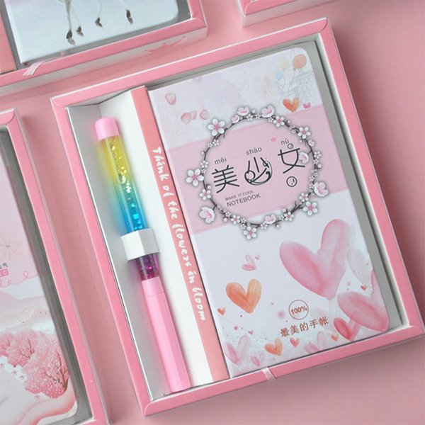 2019 New Hot Sale Ins Wind Cute Animals Pink Girl Heart Notepad Notebook Gift Box Girl Schoolgirl Best Love Stationary Set