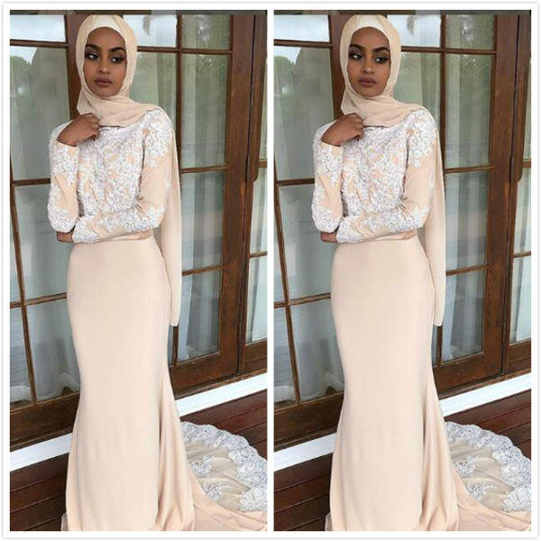 Champagne Lace Beaded 2019 Muslim Prom Dresses Long Sleeves Chiffon Mermaid Evening Dresses Cheap Sexy Formal Party Bridesmaid Pageant Gowns