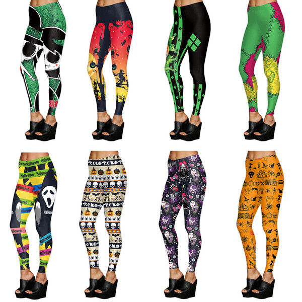 top popular Woman 3D Printed Cartoon Leggings Halloween Pumpkin skull Skinny Elastic Leggings Fitness Sexy Pants Sports Yoga Pantas LJJA3026 2020