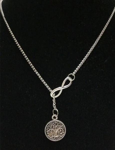 5 pçs / lote moda antiga árvore de prata da vida do vintage infinito encantos colar camisola cadeia pingente de colar de jóias de presente -158