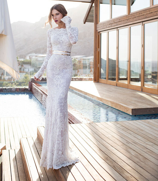 fast shipping in stock long sleeves mermaid bridal gown high neck cheap lace white wedding dresses with belt