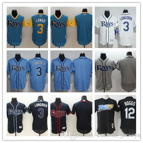 custom Men women youth TB Rays Jersey Personalized #00 Any Your name and number 3 Evan Longoria 12 Wade Boggs Blue White Baseball Jerseys
