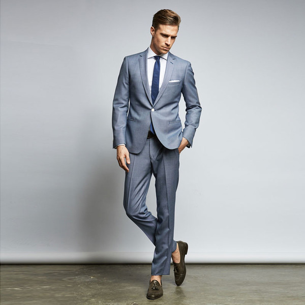 2019 Classy Cheap Mens Suits Slim Fit Nothced Lapel Wedding Suits For Men With Jacket And Pants Designer Groom Tuxedos Two Pieces Blazers