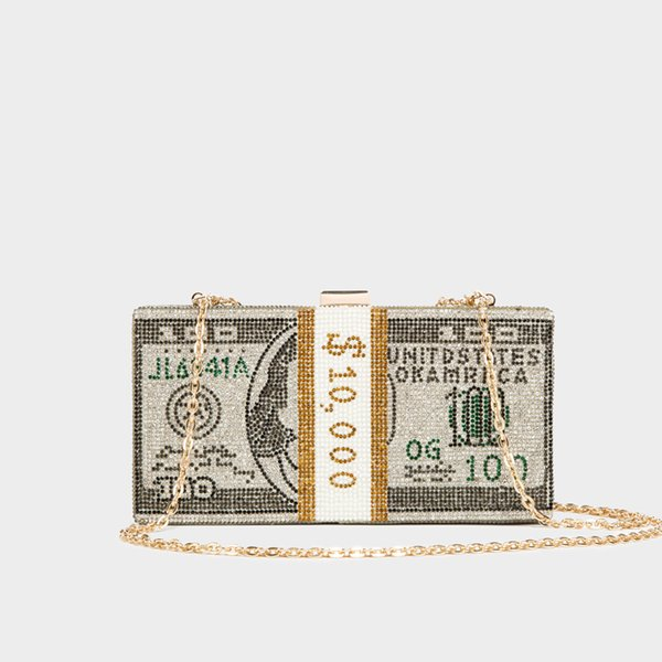 best selling Stack of Cash $100 Dollars Money Bag Crystals bag for women 2020 Women Crystal Clutch Evening Bags Dinner Purses and Handbags