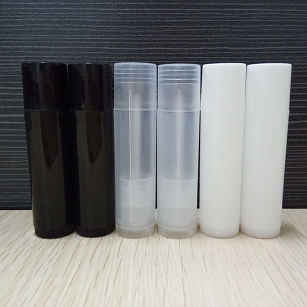 Mini 5G Empty DIY Oval Lip Balm Tubes Portable Deodorant Containers Fashion Black Lip Tube Clear White Lipstick 1000pcs/lot