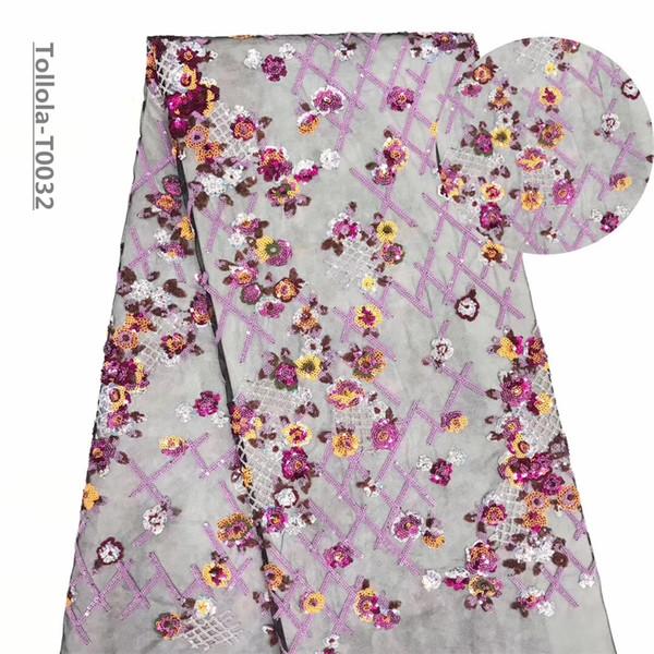 Французская Чистая Кружевная Ткань 2019 Последние Африканские Гипюр Кружевная Ткань С Вышивкой Сетки Тюль Розовый Шнур Блестки Кружевной Ткани