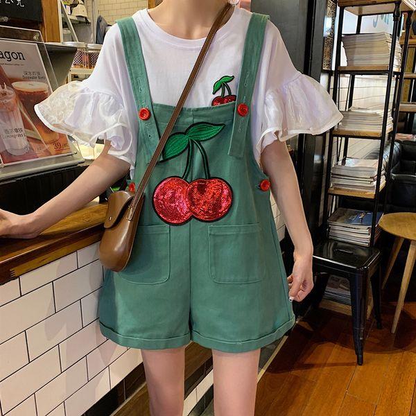 Bordado Lantejoula Cereja Fruta Suspensório Alça de Ombro Ajustável Sexy Cintura Alta Lolita Coreano Mulheres Macacão Macacão Romper