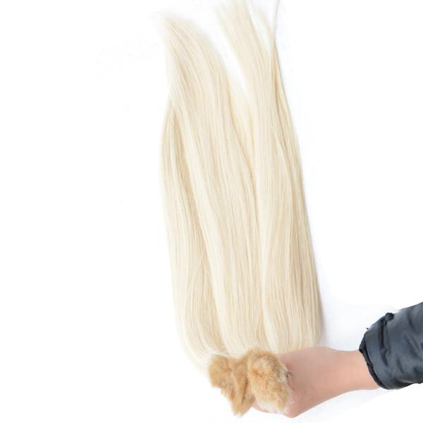 Virgin Blond braiding human hair extension Indian Brazilian Peruvian Malaysian remy hair bulk no weft natural straight hair product 3/4/5pcs
