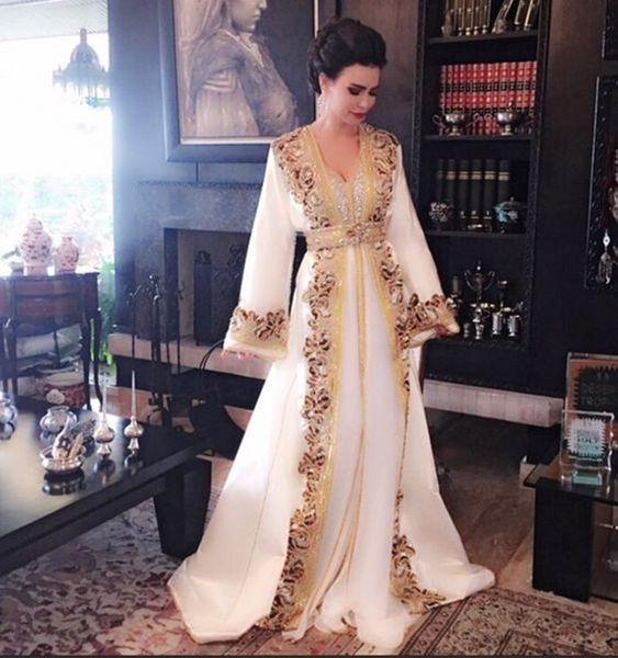 Nuevos vestidos de noche largos musulmanes de cuentas blancas Vestido de lujo Kaftan marroquí de Dubai Manga larga Vestido formal Vestido de fiesta de noche