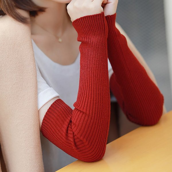Autumn Winter Arm warmers For Women Solid Knitted Woolen Cashmere Long Sleeve Fingerless Gloves Lady Soft Strench 1 Pair