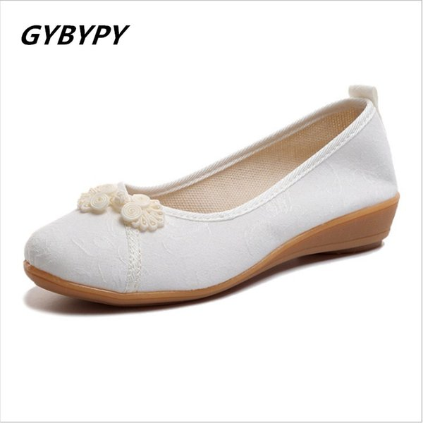 Designer Dress Shoes 2019 spring and summer new national style women's retro single old Beijing cloth cotton linen
