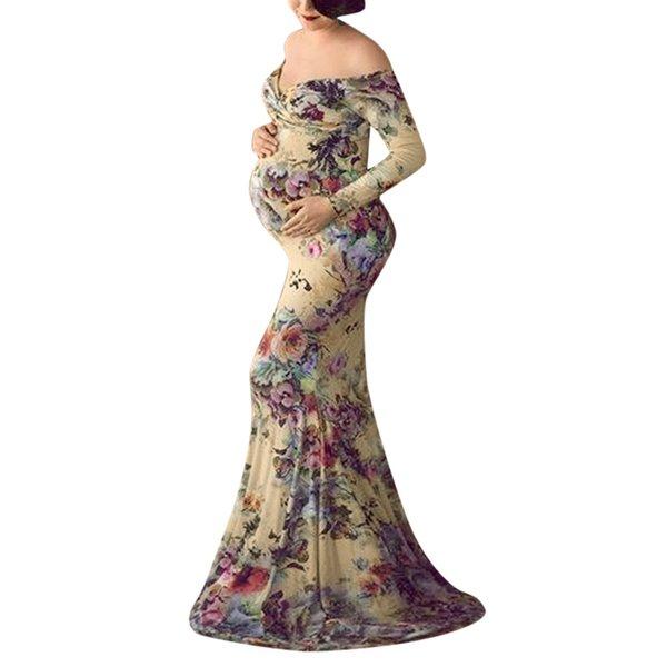 Pregnant Dress Maternity Dresses For Photo Shoot Off Shoulder Long Sleeve Maternity floral Printed Nursing Dress Hamile Elbise