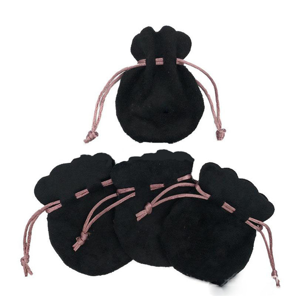 European Pink Ribbon Black Velvet Bags for Pandora Style Beads Charms Bracelets Necklaces Jewelry Fashion Pendant Jewelry Pouches