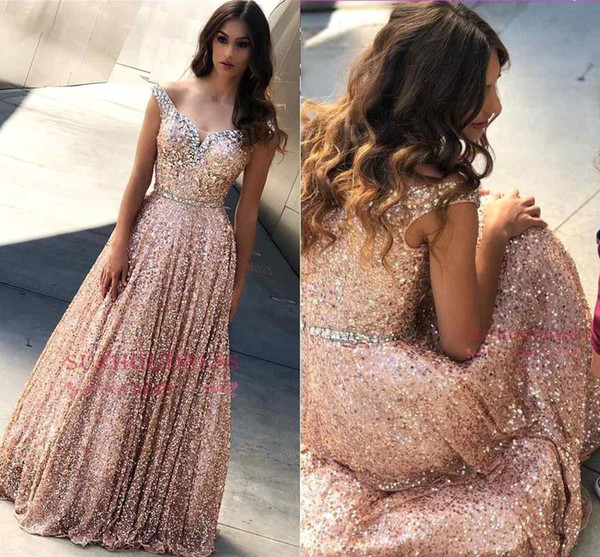 Elegant Blush Pink Off Shoulder Prom Evening Dress 2019 Sparkly A-line Crystal Sequins Formal Party Ball Gown Custom Made BC1605