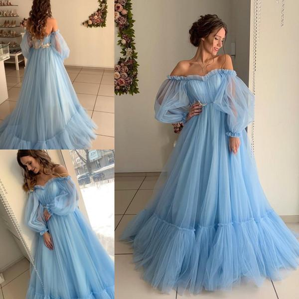 Небесно-голубой свадебные платья 2019 последние a-line спинки чешский страна свадебные платья кружева тюль пляж летний отдых халаты де Марие