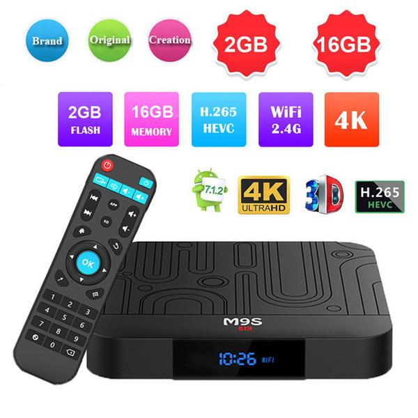 Quad Core M9S W1 Android 7.1.2 TV BOX 2GB 16GB Amlogic S905W 4K H.265 Streaming Media Player IPTV Box Better TX3 X96 mini S905W S905X2 T95Q