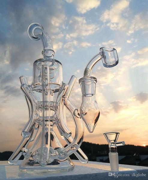 Nouvelle arrivée Double Recycler Bong 10.8inches Bang en verre avec quartz banger pipe à eau plate-forme de forage 14.4mm