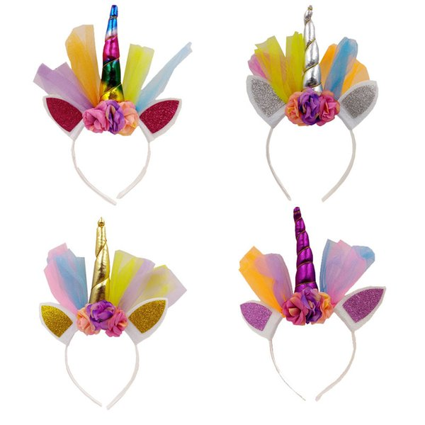 Hot New Unicorn Horn Baby Girls Hair Sticks Flower Cat Ear Girls Party Headwear Birthday Gift Photography Props
