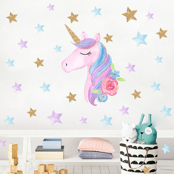 Unicorn Kids Room Wall Stickers Pink Cute Cartoon Stickers Heart Star  Kindergarten Decoration DIY Home Decor Wall Decals Sticker Childrens  Bedroom ...