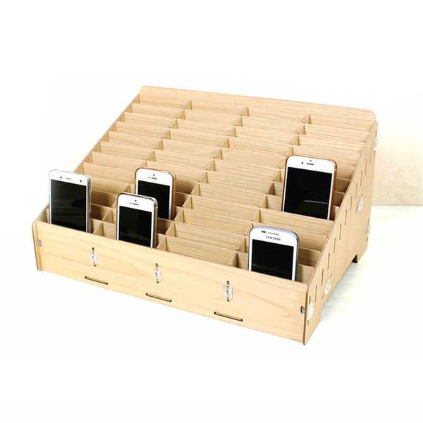 Organisation en bois de pièce de rechange de plateau d'affichage d'affichage à cristaux liquides multi de téléphone portable en bois de boîte de gestion de gestion de téléphone portable