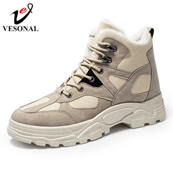 wholesale Brand Fashion With Fur Warm Work Boots Male Shoes Adult For Men Vintage Canvas Ankle Boots Popular Design New Arrival