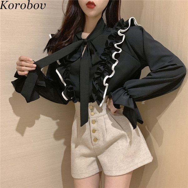Korobov Women Shirts Korean Patchwork Ruffles Female Blouse Vintage Lacing Bow Collor Blusas Flare Sleeve Mujer Shirts 76651