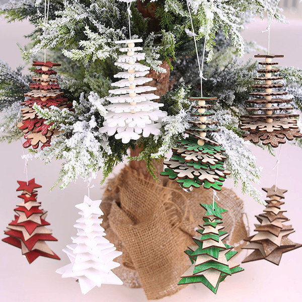Wooden Christmas Tree Drop Ornaments Diy Home Decoration Pentagram Christmas Pendant 3d String Hangings Snowflake Festive Suppli Home Christmas