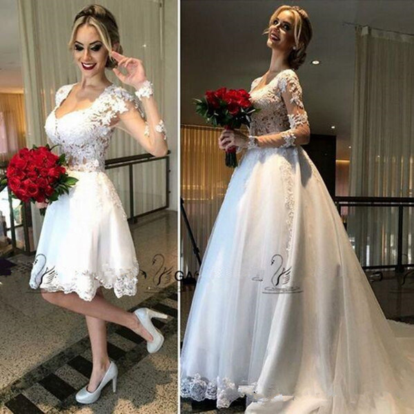 2019 Hot Fashion Two Pieces Detachable Train Beach Short Wedding Dresses with Long Sleeve Scoop Knee-length Cheap Bridal Wedding Gown 293