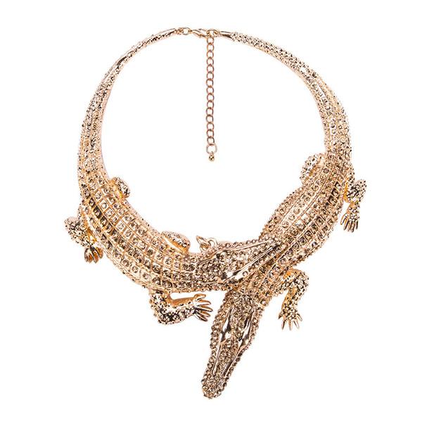 Big Crocodile Necklaces - Alloy Inlay Full Rhinestones Womens Exaggerated Choker Statement Jewelry Bib Collar Maxi Necklace