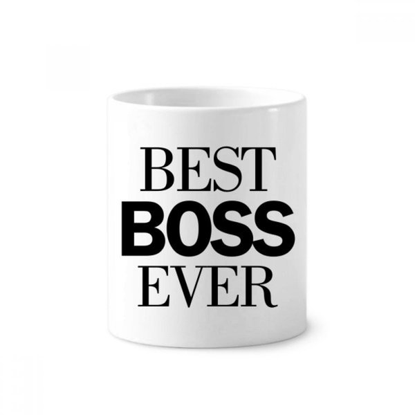 Best Boss Ever Quote Toothbrush Pen Holder Mug White Ceramic Cup 12oz