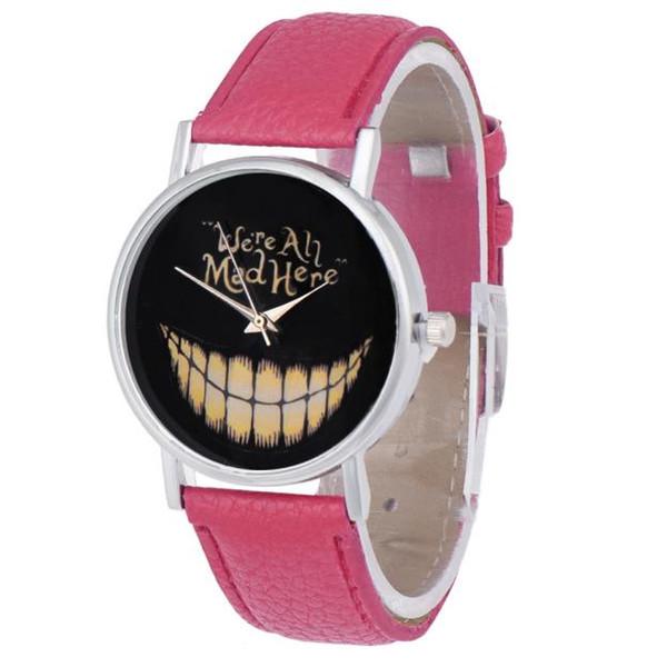 Fashionable Unisex Women Men Watch Leisure Time PU Leather Strap Analog Smiling Face Wrist Watch Quartz Gift Clock Kol Saati #S