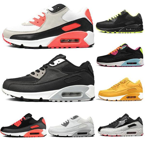 2019 Ucuz Sneakers Klasik 90 Erkekler Koşu Ayakkabı Toptan Spor 90 s Mens Womens Eğitmenler moda lüks erkek kadın tasarımcı sandalet ayakkabı
