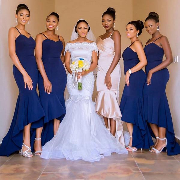 Пользовательские высокие низкие темно-синие африканские платья подружки невесты 2019 ремни спагетти Русалка выполненные на заказ платья фрейлина