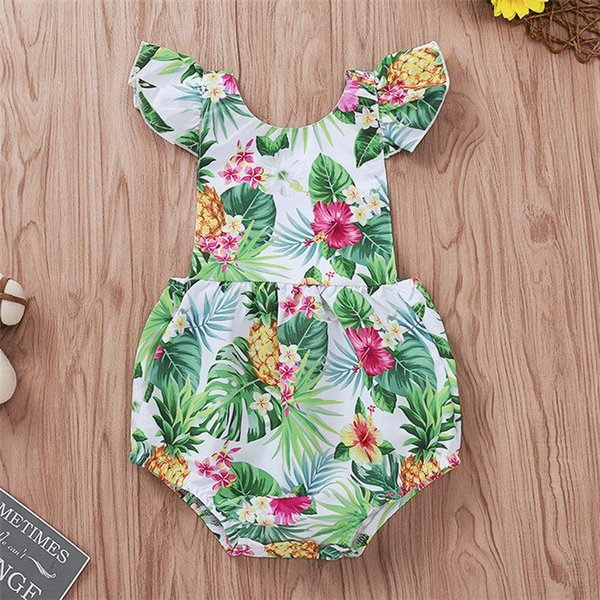 Girls Rompers Kids Jumpsuits 2019 Pineapple Fower Printed Fly Sleeve Triangle Pants Bodysuit One Piece Newborn Infant Kids Clothing Q345