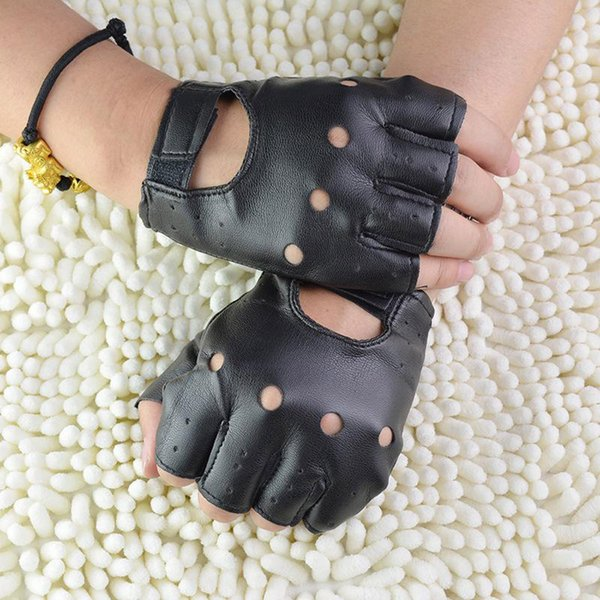1Pair Fashion Boy Gloves Cool Hollow PU leather Biker Driving Gloves for Men Black Half Finger Fingerless Guantes