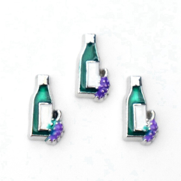Grape Wine Bottle Floating Charms Fit Memory Living Locket Glass Lockets,Gifts DIY Handmade Jewelry Accessories 10PCS