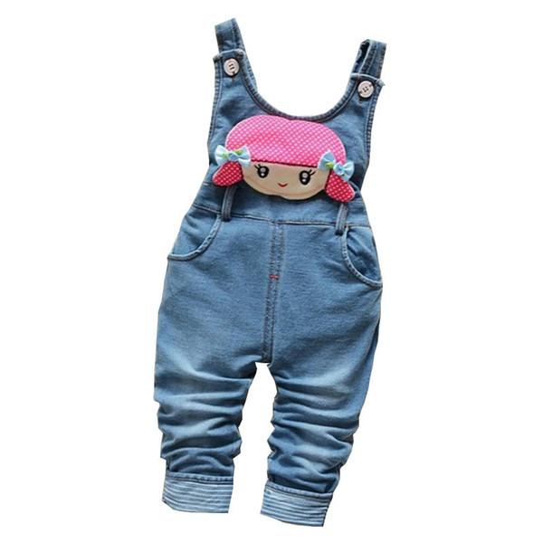 good qulaity 2019 baby girls pants autumn fashion infant children cartoon denim trousers toddle kids cotton bib pants bebe leggings