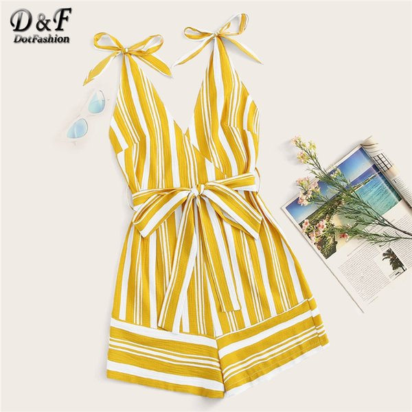 Dotfashion Yellow Striped Surplice Belted Cami Playsuit Women 2019 Summer Boho Spaghetti Strap Casual Wide Leg High Waist Romper T4190612