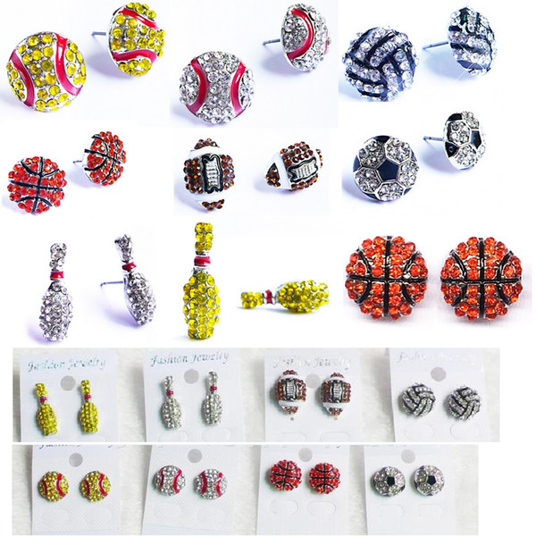 Sports basketball volleyball stud earrings Bling Bowls Baseball Softball Stud Earrings Rhinestone Crystal Bling Sports Girls