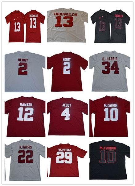 Alabama Mens Crimson Tide 13 Туа Таговайлоа 2 Деррик Генри 4 Джерри Джеуди 12 Джо Намат 34 Футбольная форма колледжа Дэмиена Харриса