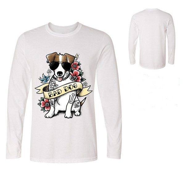 men terrier badass tattoo tshirt cute pet bad dog T-shirt cool man dog lovers Tees pattern Jack Russell Long sleeve T shirts