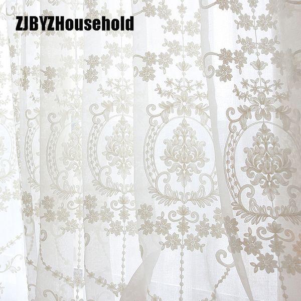 De alta qualidade Branco Bordado Flor Telas Estilo Europeu Voile Tule Sheer Para Sala de estar Do Quarto Cortinas Cortina Janelas Q190530