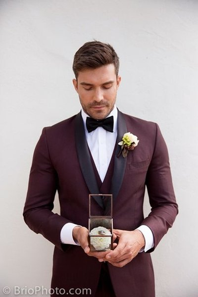 2019 Tailored Burgundy Men Suit Groom Wedding Suits for Men Slim Fit 3 Piece Tuxedo Custom Formal Prom Blazer Terno Masculino