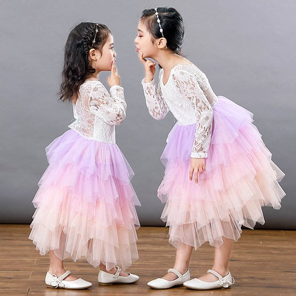 Ins girls dresses lace tutu kids dress kids designer clothes girls tiered skirts flower girl dresses for wedding party kids dresses A6602