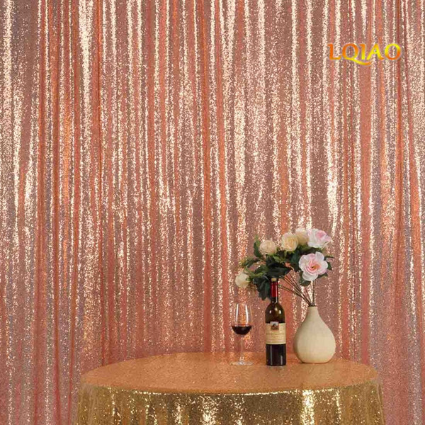 best selling Perfectly 10FTx10FT Glitter Rose Gold Sequin Fabric Background Photo booth Backdrop Wedding Curtain For Christmas Wedding Decor