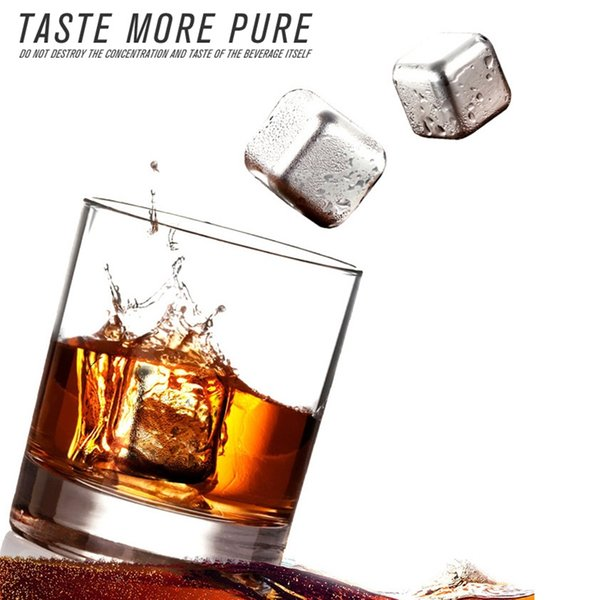 Whiskey Stones Stainless Steel Ice Cubes Whiskey Cooler Rocks Reusable Ice Stone Chiller Tool with Plastic Box 6pcs 1 lot YW3935