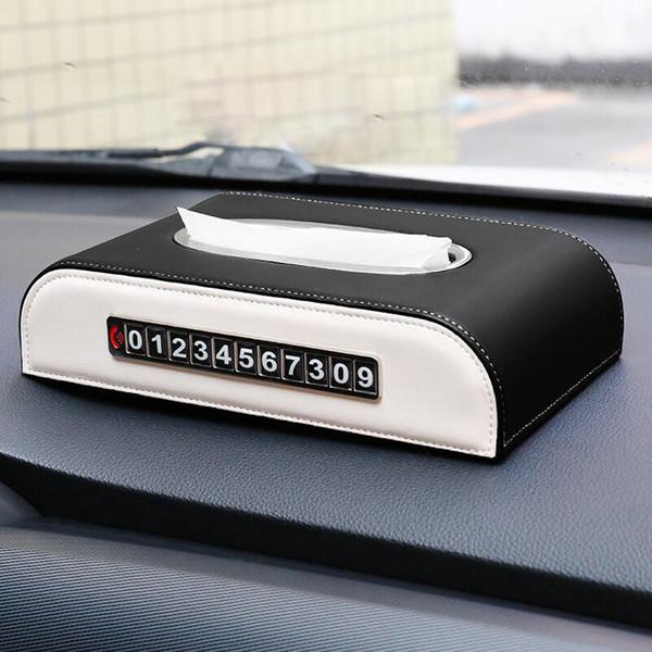Kaset ile Geçici otopark Tabaklar Pompa QHCP Araba Mendil Peçete Kağıt Havlu Konteyner Araç Deri Tutucu Kağıt